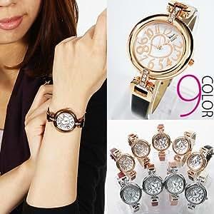 ・腕時計 レディース ハート&ストーンフェイス腕時計 革ベルト ピンクゴールド&ホワイト
