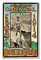 22cm x 30cmヴィンテージハワイアンティンサイン - 1914ミッドパシフィック・カーニバル - ホノルルハワイ - 特長デューク・カハナモク、世界のチャンピオンのスイマー - ビンテージなカーニバルのポスター によって作成された ルー・ヘンダーソン, ネッド・スティール c.1914