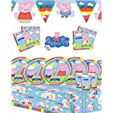 (Party for 16) - Peppa Pig Children's Birthday Party Kit for 8,16,2432featuring new style banner (Party for 16)