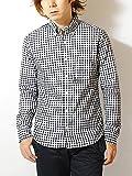 ciao (チャオ) 日本製 ギンガムチェック ボタンダウン シャツ メンズ 長袖 (L, 5.BLACK(REGULAR CHECK))
