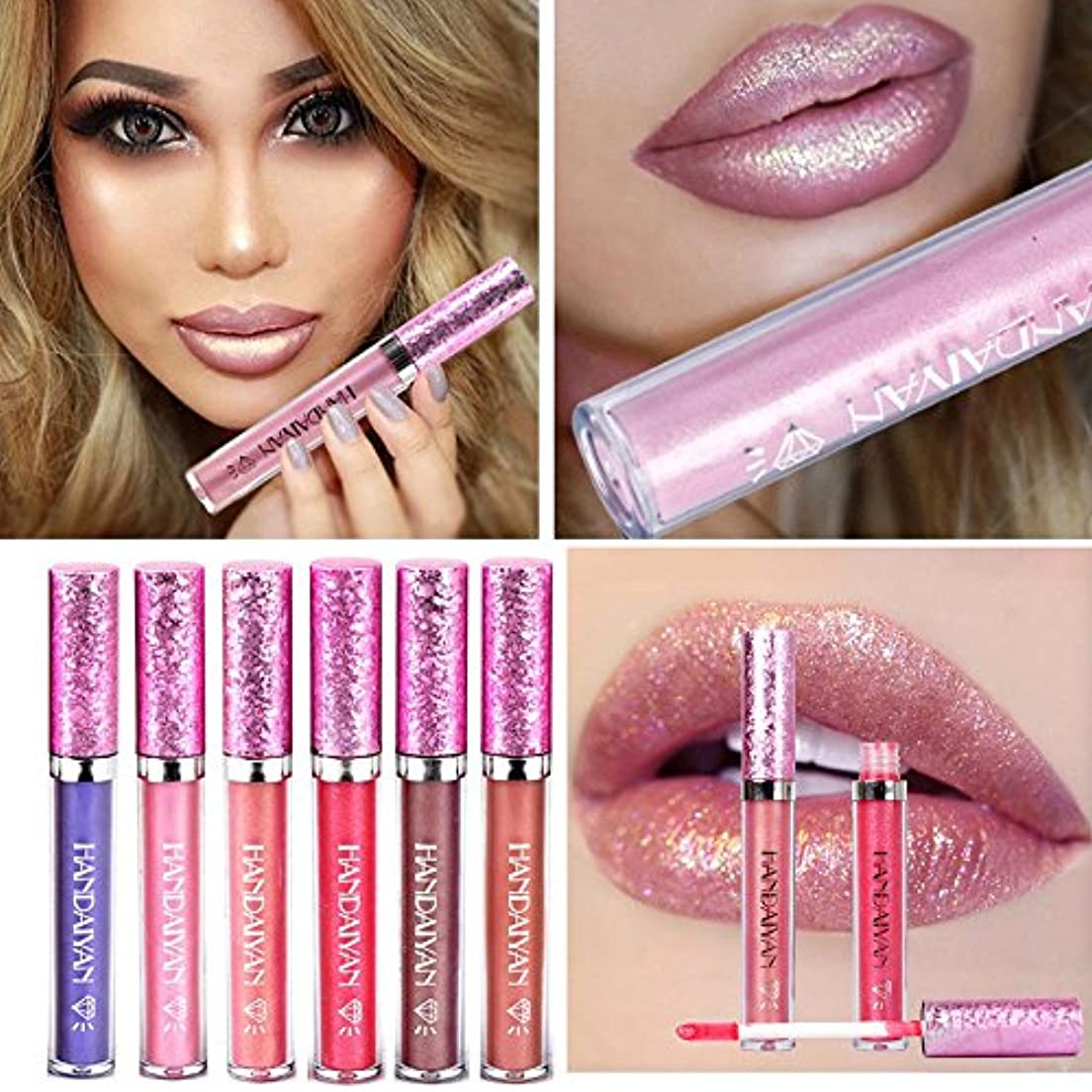 散逸意識的買収HANDAIYAN Liquid Pearly Glitter Lipsticks Set - 6 pcs Long Lasting Nonstick Lip Gloss Mermaid Waterproof Lipstick...