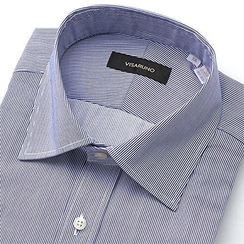 ビサルノ(VISARUNO) 【アウトレット】ラクチンすっきりYシャツ(綿100%素材)【ネイビー/【細身】37(78~80)】
