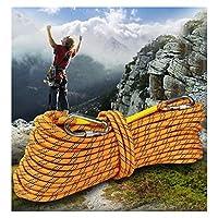 イエロークライミングロープの直径14ミリメートルスパイダーマン保護ロープロープが2カラビナギフトバッグと補助ロープをエスケープ懸垂下降 (Color : 14MM, Size : 20m)