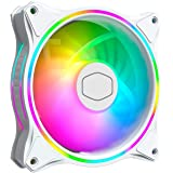 Cooler Master MasterFan MF120 Halo White Edition Duo-Ring Addressable RGB 120mm Fan with 24 Independently-Controlled LEDs, Ab