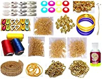 GOELX Silk Thread Jewellery Making Kit 29 Pair Jhumka Earring Base Jewellery Making Materials Full Of Jewellery Making Items All Items Set With Silk Thread (17 Items) [並行輸入品]