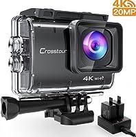 Crosstour操作 摄像机现实 4K 20MP,WIFI水中40M凸囊,防震,时光和环绕录像,索尼传感器加二充电式1350mAh电池,USB充电器和配饰套装