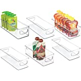 mDesign Stackable Plastic Kitchen Pantry Cabinet, Refrigerator or Freezer Food Storage Bins with Handles - Organizer for Frui