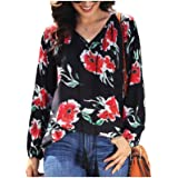 neveraway Women Drawstring Long-Sleeve Chiffon Floral Pattern Casual Top Shirt