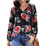 neveraway Women Drawstring Long-Sleeve Chiffon Floral Pattern Casual Top Shirt