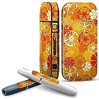 IQOS 2.4 plus 専用スキンシール COMPLETE アイコス 全面セット サイド ボタン デコ フラワー 花 オレンジ 黄色 003874