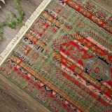 薄型 ラグ カーペット オスロ 5388 140x200 cm 約 1.5畳 グリーン エスニック 民族調 キリム 柄 ベルギー製 折り畳み 可能 床暖房 ホットカーペットカバー対応