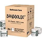 Bambooloo Bamboo Toilet Paper Rolls, 100% Virgin & Naturally Sustainable 3-Ply Toilet Paper Rolls, Family Box (36 Rolls)