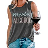 LANMERTREE Women Drinking Tank Top May Contain Wine Graphic Tees Summer Sleeveless Vest Cute Workout T Shirt Blouse
