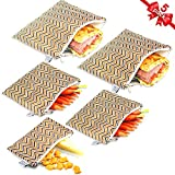 Reusable Sandwich Bags Snack Bags by Urban Green, Lunch Bags for kids, 5 pack, Food Storage Bags, Toiletry Makeup Bags, Food Wraps, Cable Travel Organizer, Accessory Bags (Modern Chevron)