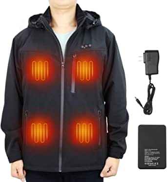 ARRIS 電熱ジャケット 独立温度調節電熱ベスト 7.4V大電量ヒーターコート 5段階調温 8つヒーター内蔵 充電式加熱メンズアウトドアジャケット