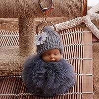 YipingクリエイティブキーリングGifts Plush BabyキーリングPurse Handバッグ車ペンダントキーチェーンプレゼント(グレー)