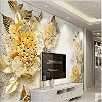 Sproud 大規模なカスタムの壁紙の金高レベルのダイヤモンドの宝石類の花をリビングルームのソファベッドルームの背景の壁 150 Cmx 105 Cm