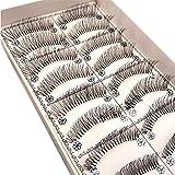 Feteso 10組 偽のまつげセット つけまつげ 上まつげ Eyelashes アイラッシュ ビューティー まつげエクステ レディース 化粧ツール アイメイクアップ 人気 ナチュラル 飾り 再利用可能 濃密 柔らかい