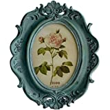 CISOO Vintage Picture Frame 4x6 Oval Table Top Display Wall Mounting Photo Frame Home Decoration (Blue)
