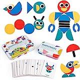 Coogam Wooden Pattern Blocks - Tangram Shape Puzzle Set Color Sorting Stacking Game Wood Animal Jigsaw Preschool Montessori B