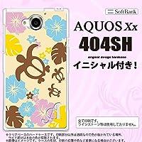 404SH スマホケース AQUOS Xx カバー アクオス ダブルエックス イニシャル 亀とハイビスカス 黄色 nk-404sh-1105ini Y