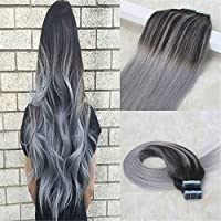 HairDancing 50cm Seamless Tape In Extensions Skin Weft Double Glue in Extensions Balayage Ombre Color #2 Darkest Brown to Silver Grey to #2 Ombre PU Real Hair Extensions 20pcs 50g