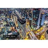 【日本の観光地ポストカードAIR】「Osaka, Japan」大阪駅周辺の夜景の葉書はがきハガキ