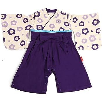 b9849c73ff932  紫京  かわいい ベビー 子供用 着物 袴 ロンパース ベビー服 (80 cm
