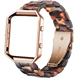 Ayeger Resin Band Compatible with Fitbit Blaze,Women Men Metal Frame Housing+ Resin Accessory Band Wristband Strap Blacelet f