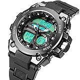 スポテレン SPOTALEN デジタル軍事腕時計 ファッション 釣り時計 アウトドア キッズ用 防水 アラーム&ストップ(ブラック)メンズ
