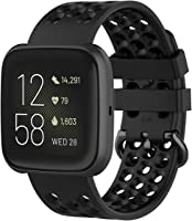TERSELY Sport Band Strap for Fitbit Versa 2/1/Lite, Soft TPU Silicone Metal Buckle Bands Fitness Sports Bracelet Strap...