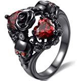 Jude Jewelers Black Gold Plated Skull Gothic Death Rose Wedding Statement Cocktail Party Biker Ring