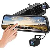 ドライブレコーダー ミラー型 前後カメラ タッチパネル 10インチ ドラレコ 1080P FHDフルHD 前170°後140°広角レンズ HDR/WDR技術 Gセンサー 衝撃録画 駐車監視 常時録画 動体検知 暗視機能 フルハイビジョン 安全運転 同