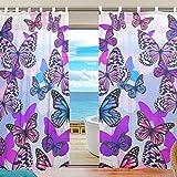 ユキオ(UKIO) レースカーテン 紗のカーテン 人気 可愛い蝶 綺麗 マルチカラー 青色 可愛い お洒落 欧米 スタイルカーテン 2枚セット幅140丈210