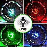 UMTELE 自転車ライト 自転車タイヤ用ライト テールライト ホイールライト USB充電式 LEDライト 3種点灯モード 4色 テールランプ 夜間 安全警告ライト 事故防止 簡単取り付け 防水(2個)