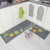 Carvapet 2 Piece Non-Slip Kitchen Mat Rubber Backing Doormat Runner Rug Set, Lemon Design ...