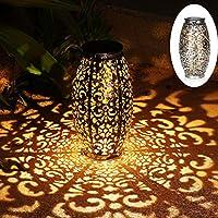 Solar Lantern Lights for Hanging or Table Outdoor Solar Light for Patio Courtyard Garden (Silver) 141[並行輸入]