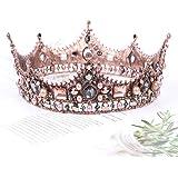 Vofler Baroque Crown Vintage Round Full Size Tiara Luxury Retro Headband Crystal Rhinestone Beads Hair Jewelry Decor for Quee