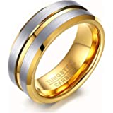 Rockyu ブランド 人気 タングステン リング メンズ 指輪 シンプル 8MM 10号 ファッションアクセサリー 耐久