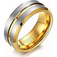 Rockyu ブランド 人気 タングステン リング メンズ 指輪 シンプル 8MM 10号 ファッションアクセサリー 耐…