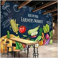 Mingld 3D手書き黒板壁紙壁画壁画果物野菜スーパー果物屋-200X140Cm