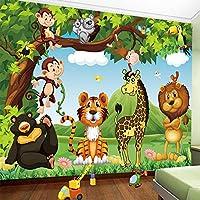 Bzbhart テレビの背景装飾画、壁用ステッカー3Dの壁紙漫画の動物の世界写真の壁の壁画子供の寝室の防水環境に優しい壁布の装飾-350cmx245cm