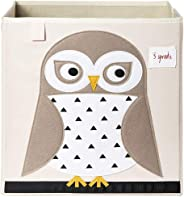 3 Sprouts Storage Box - Owl, White