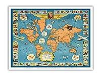 世界の有名な飛行機と航空路 - チャールズ リンドバーグ - パン・アメリカン航空(PAA) - ユナイテッド航空 - ビンテージな航空会社のポスター c.1937 - アートポスター - 23cm x 31cm
