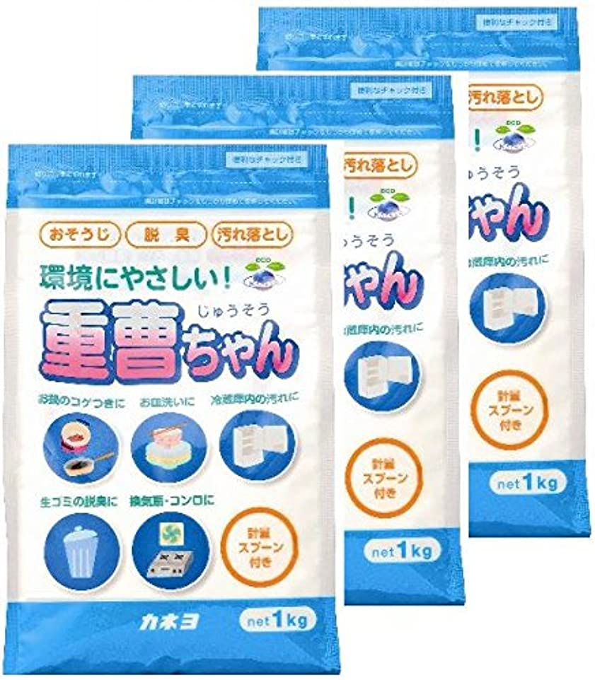 トラフィック見えない貧困【まとめ買い】 カネヨ石鹸 マルチクリーナー 重曹ちゃん 粉末 1kg×3個  計量スプーン付