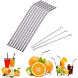 CHOUREN 8 Pcs Stainless Steel Metal Drinking Straws With 3 Cleaner Reusable Brush Kit,Variation:silver