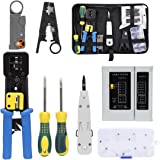 Rj45 Crimping Tool Kit for CAT5/CAT6, Professional Computer Maintenacnce LAN Cable Tester Network Repair Tool Set by SILIVN -