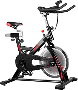 ONETWOFIT 屋内サイクリングバイク サイレントベルトドライブサイクルバイク 調節可能なハンドルバー&シート付き 40ポンドクロムフライホイール 固定バイク 自宅やジム用 最大重量330ポンド OT124