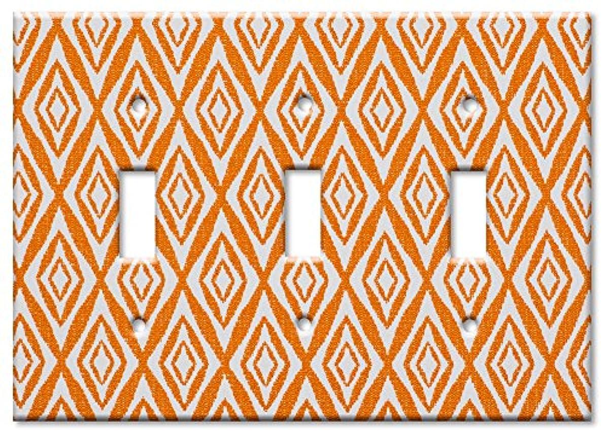 にじみ出る四半期ベンチアートプレート – 特大スイッチプレート – オレンジダイヤモンド マルチカラー 8155-T-oversize