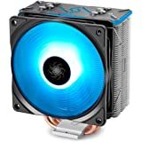 DEEPCOOL GAMMAXXGTBK, Black Top Cover, CPU Air Cooler, Motherboard Sync, RGB Top Cover and Fan, Cable or Motherboard Control